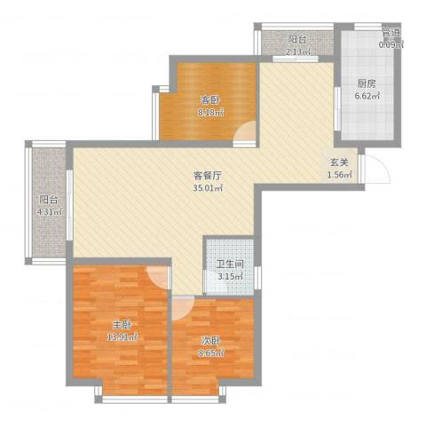 卓越香樟美域2室2厅1卫1厨103.00㎡户型图