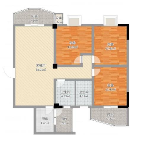 日月星城3室2厅2卫1厨133.00㎡户型图