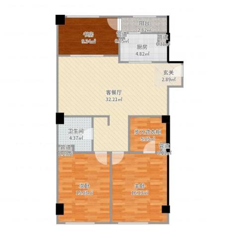 恒元悦庭3室2厅1卫1厨113.00㎡户型图