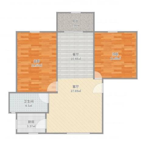 安康新村2室1厅1卫1厨82.00㎡户型图