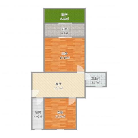 安康新村2室1厅1卫1厨78.00㎡户型图
