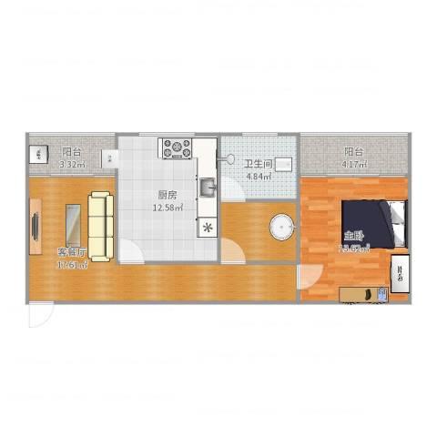 天剑华城1室2厅1卫1厨76.00㎡户型图