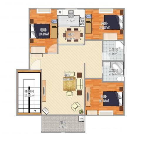 南方国际广场2期3室2厅2卫1厨147.00㎡户型图