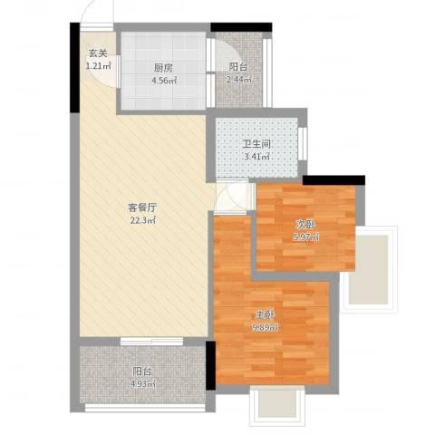 九洲花园2室2厅1卫1厨67.00㎡户型图