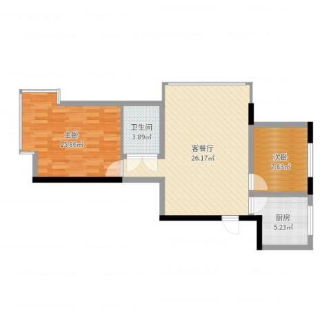 格林英郡2室2厅1卫1厨74.00㎡户型图