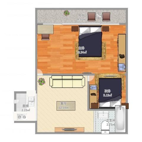 海滨三村2室1厅1卫1厨57.00㎡户型图