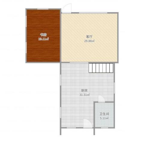 海湾世纪佳苑1室1厅1卫1厨107.00㎡户型图