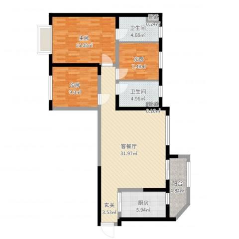 恒大中央广场3室2厅2卫1厨106.00㎡户型图