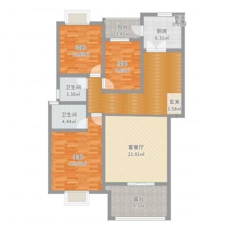帝景花园3室2厅2卫1厨132.00㎡户型图