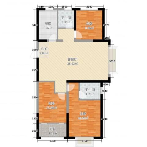 中达・开元首府3室2厅2卫1厨116.00㎡户型图