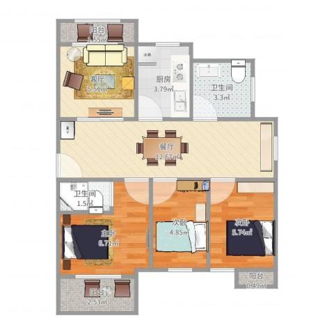 蓝天苑1583室2厅2卫1厨61.00㎡户型图