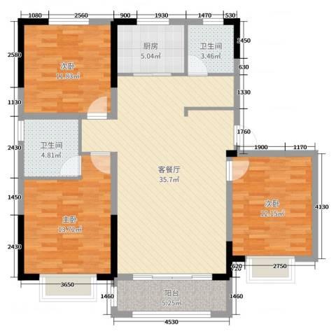 中达・开元首府3室2厅2卫1厨115.00㎡户型图
