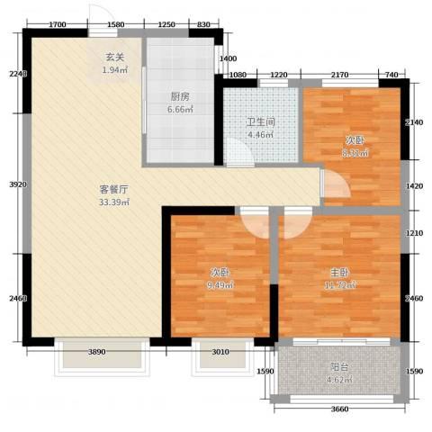 中达・开元首府3室2厅1卫1厨98.00㎡户型图