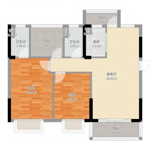 东逸湾花园2室2厅2卫1厨91.00㎡户型图