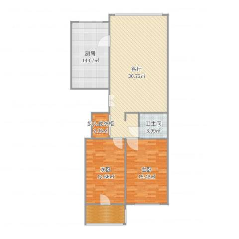 东升江畔2室1厅1卫1厨114.00㎡户型图