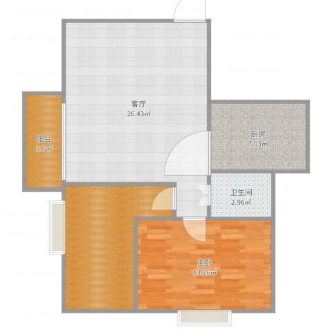 万丰花园1室1厅1卫1厨80.00㎡户型图