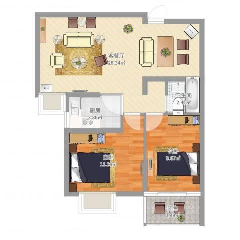 新世纪阳光花园2室2厅1卫1厨74.00㎡户型图