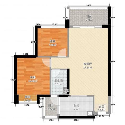 港航华庭2室2厅1卫1厨85.00㎡户型图