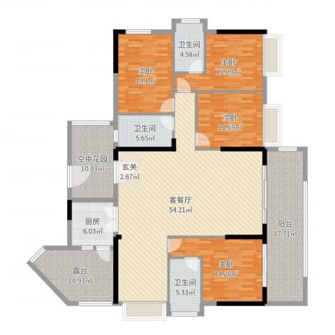 揭西希桥商贸城4室2厅3卫1厨208.00㎡户型图