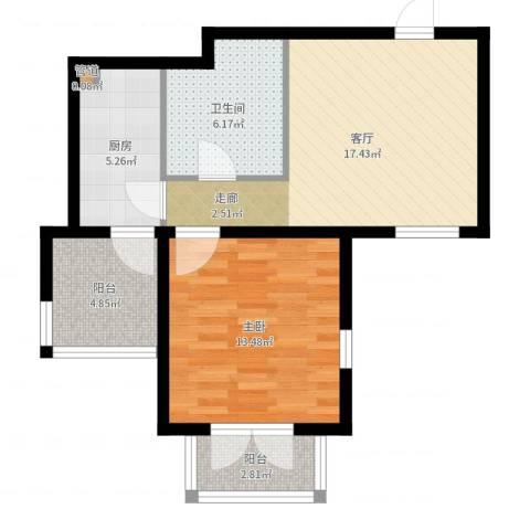 天嘉湖花园1室1厅1卫1厨63.00㎡户型图