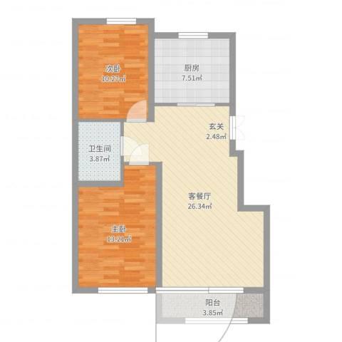 山河半岛2室2厅1卫1厨81.00㎡户型图