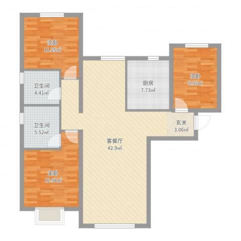 天润・香墅湾1号3室2厅2卫1厨118.00㎡户型图