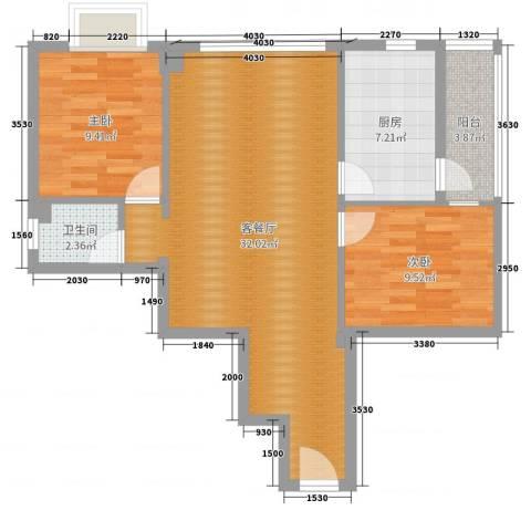 天元大厦2室2厅1卫1厨80.00㎡户型图