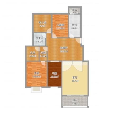 东坝家园4室3厅1卫1厨163.00㎡户型图