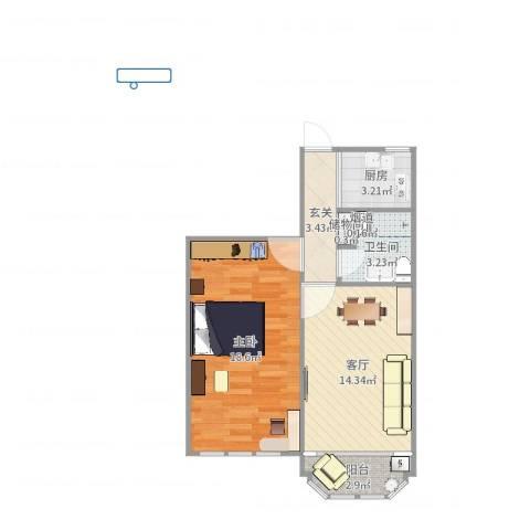 茅台新苑1室1厅2卫1厨58.00㎡户型图