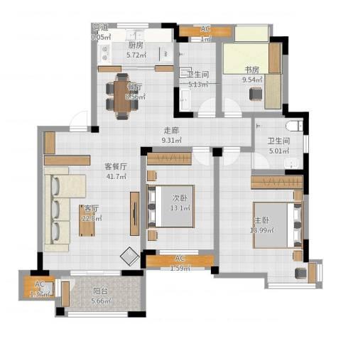 丽景华庭3室2厅2卫1厨136.00㎡户型图