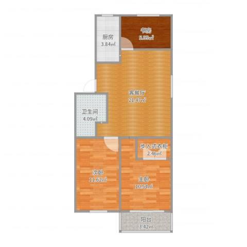 贝港北区23室2厅1卫1厨79.00㎡户型图