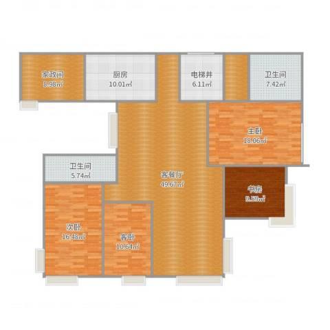 碧海雅苑4室2厅2卫1厨182.00㎡户型图