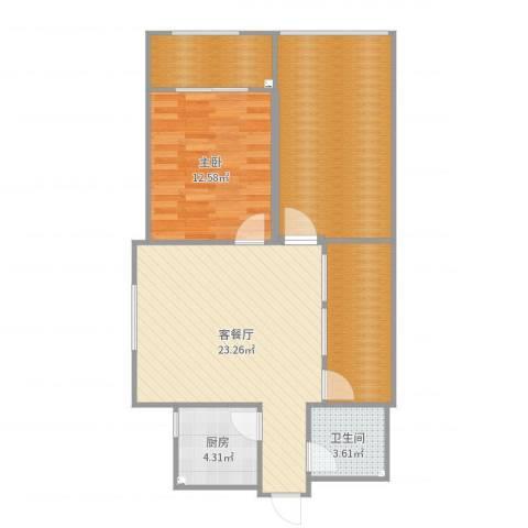 清华苑1室2厅1卫1厨89.00㎡户型图