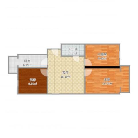 和义西里3室1厅1卫1厨75.00㎡户型图