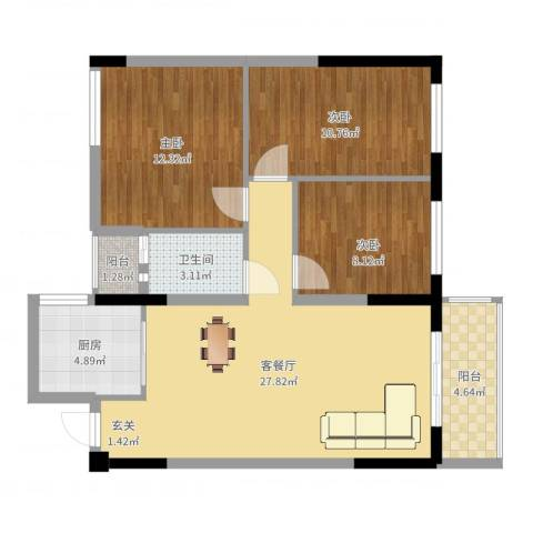 西街苑二期3室2厅1卫1厨91.00㎡户型图