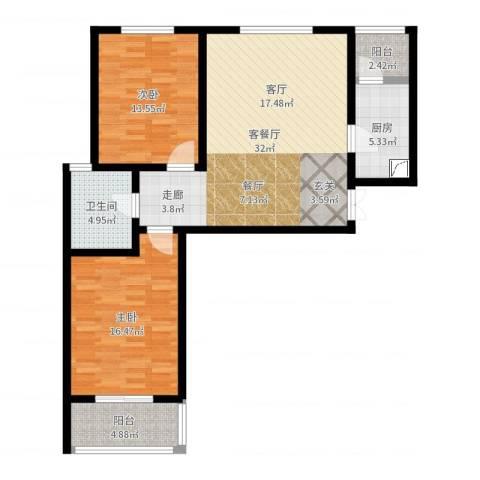 东方红2室2厅1卫1厨99.00㎡户型图