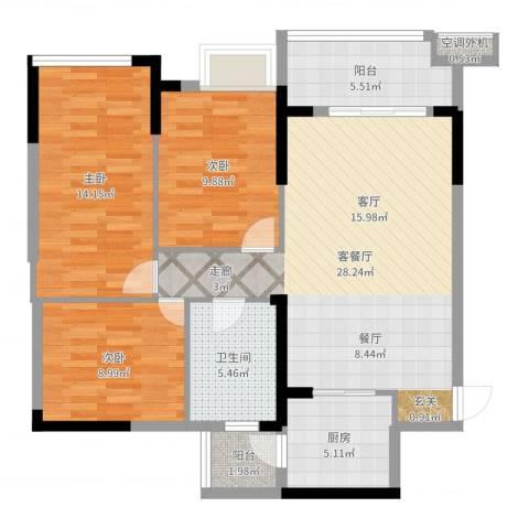 叠彩城一期3室2厅1卫1厨100.00㎡户型图