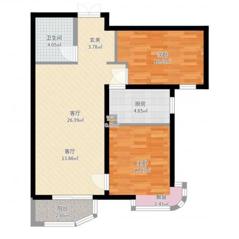 天洋城4代2室1厅1卫1厨75.00㎡户型图