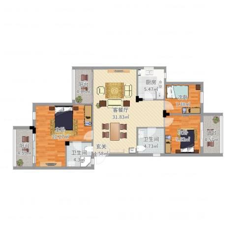云影花园3室2厅2卫1厨121.00㎡户型图