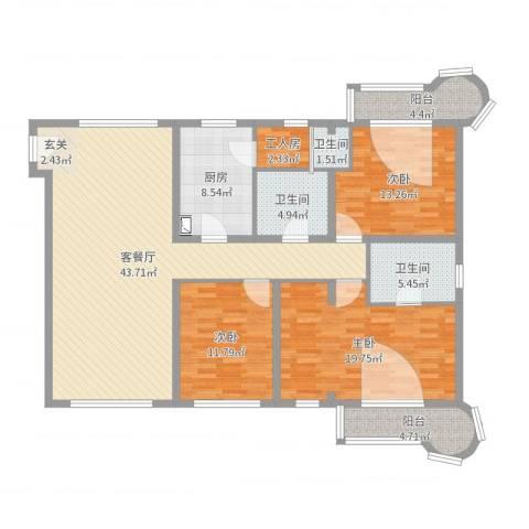 清芷园3室2厅3卫1厨150.00㎡户型图