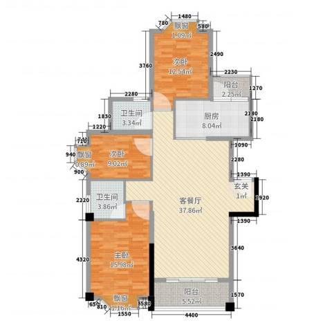 聚星国际城3室2厅2卫1厨123.00㎡户型图