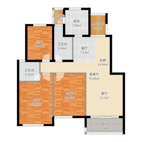 江阴外滩名门3室2厅2卫1厨158.00㎡户型图