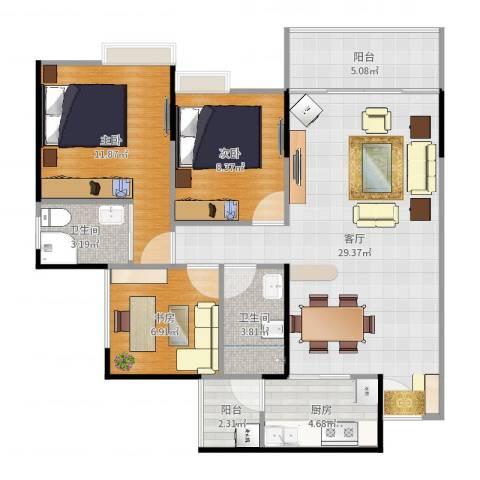 双福时代广场3室1厅2卫1厨94.00㎡户型图