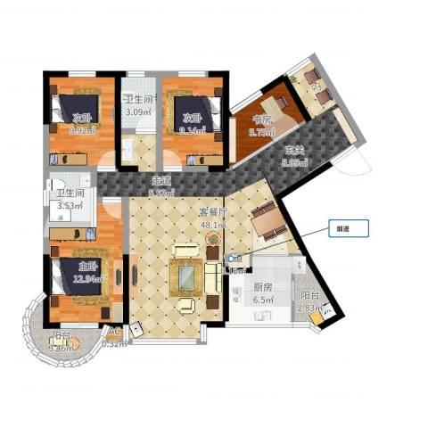 华盛世纪新城4室2厅2卫1厨132.00㎡户型图