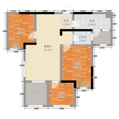 滨江翡翠城3室2厅1卫1厨84.00㎡户型图