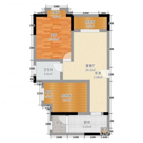 滨江翡翠城1室2厅1卫1厨64.00㎡户型图