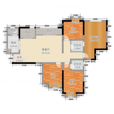 滨江翡翠城3室2厅2卫1厨110.48㎡户型图