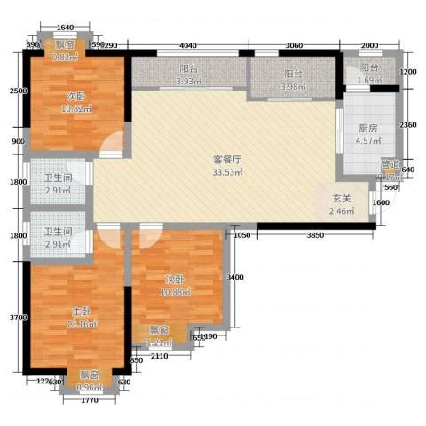 滨江翡翠城3室2厅2卫1厨99.00㎡户型图