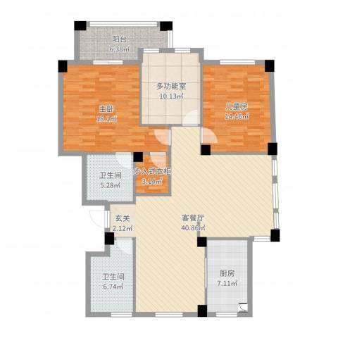 紫荆花园2室2厅2卫1厨140.00㎡户型图