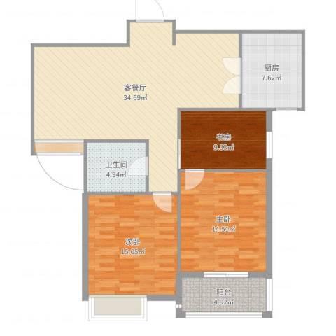 冠城华府2室2厅1卫1厨114.00㎡户型图